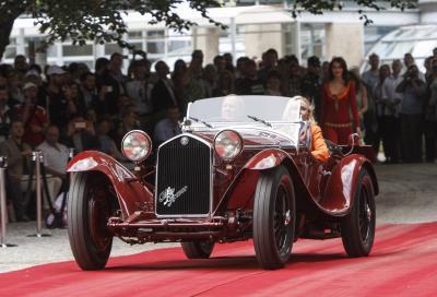 Un'Alfa Romeo 8C 2300 conquista Villa Erba