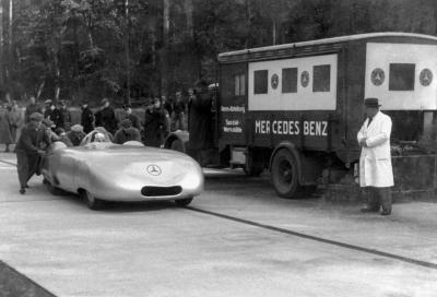 "Autunno 1936: Caracciola su Mercedes ""vola"" a 372 km/h"
