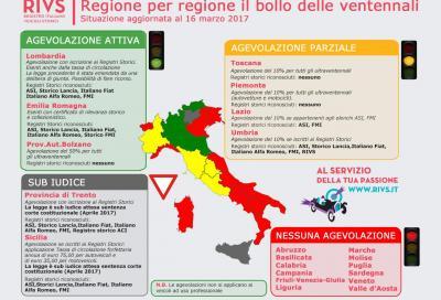 """La cartina dei """"bolli"""" per le ventennali in Italia"""