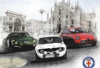 Passaggio in piazza Duomo per la partenza milanese del Rallye Monte-Carlo Historique