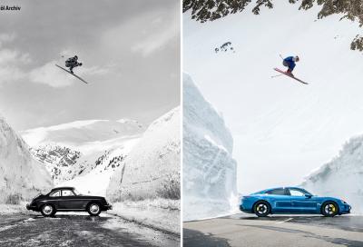 Porsche reinterpreta la spettacolare foto sul Flexen Pass