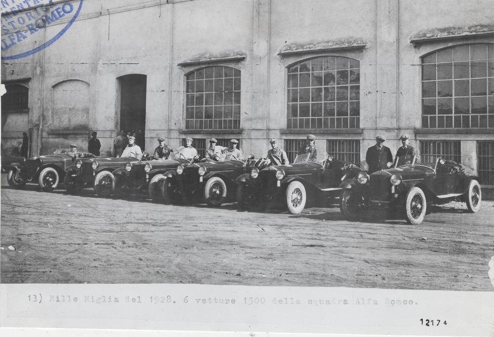 La squadra Alfa Romeo alla Mille Miglia del 1928