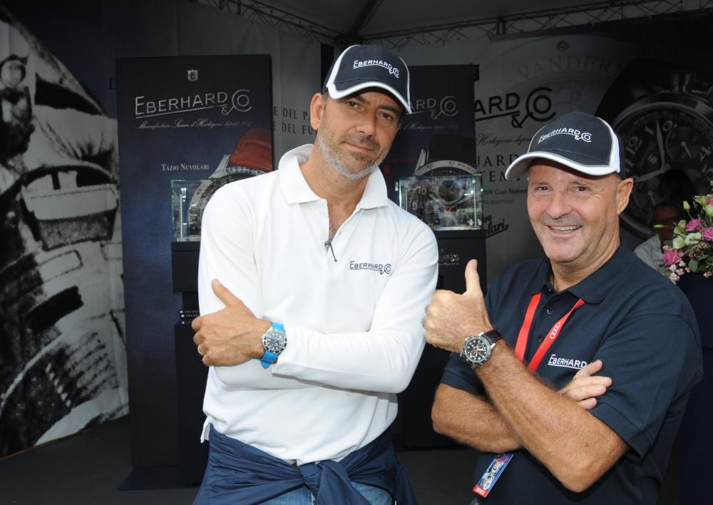 Mario Peserico (a sx), direttore generale di Eberhard & Co. e Miki Biasion parteciperanno al GP Nuvolari 2018 sull'Alfa Romeo 1900 Super Sprint #190.